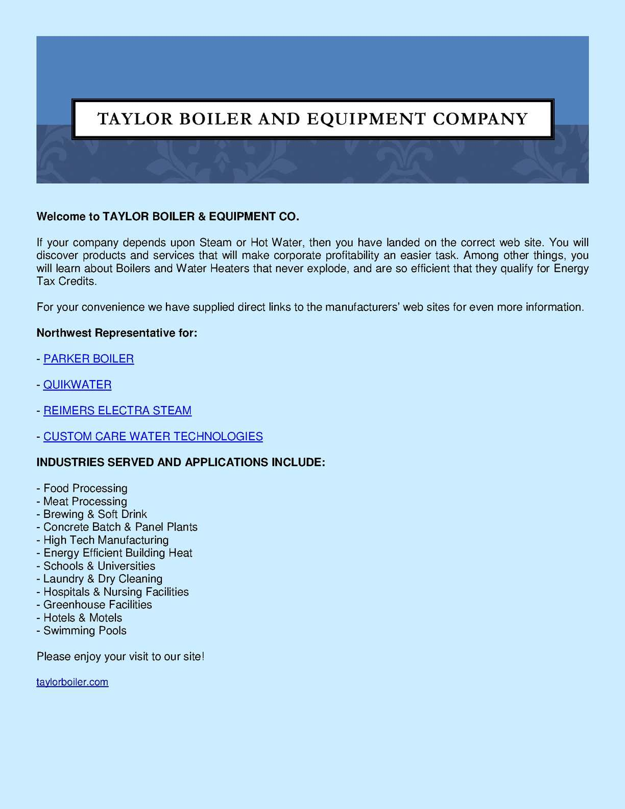 Calaméo - Taylor Boiler and Equipment Company