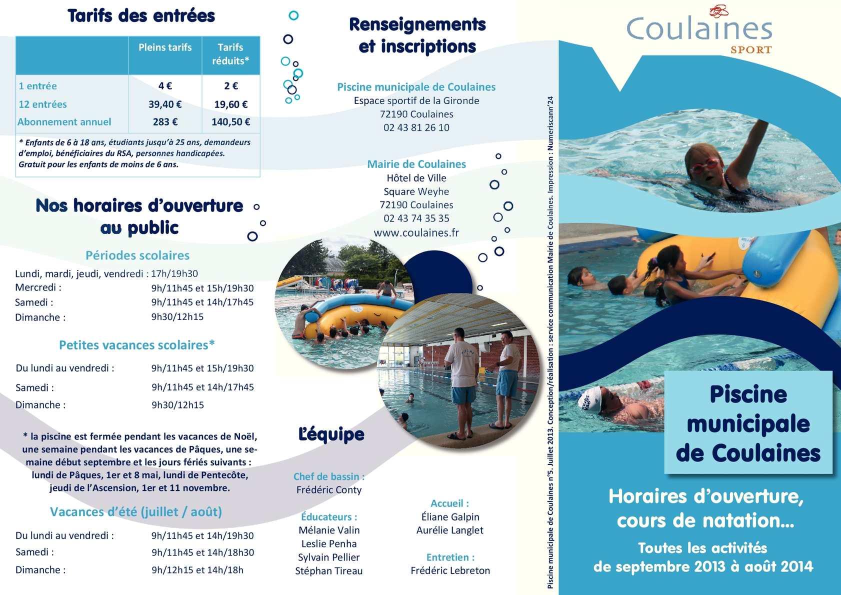 Calam o plaquette piscine 2013 2014 for Piscine de coulaines