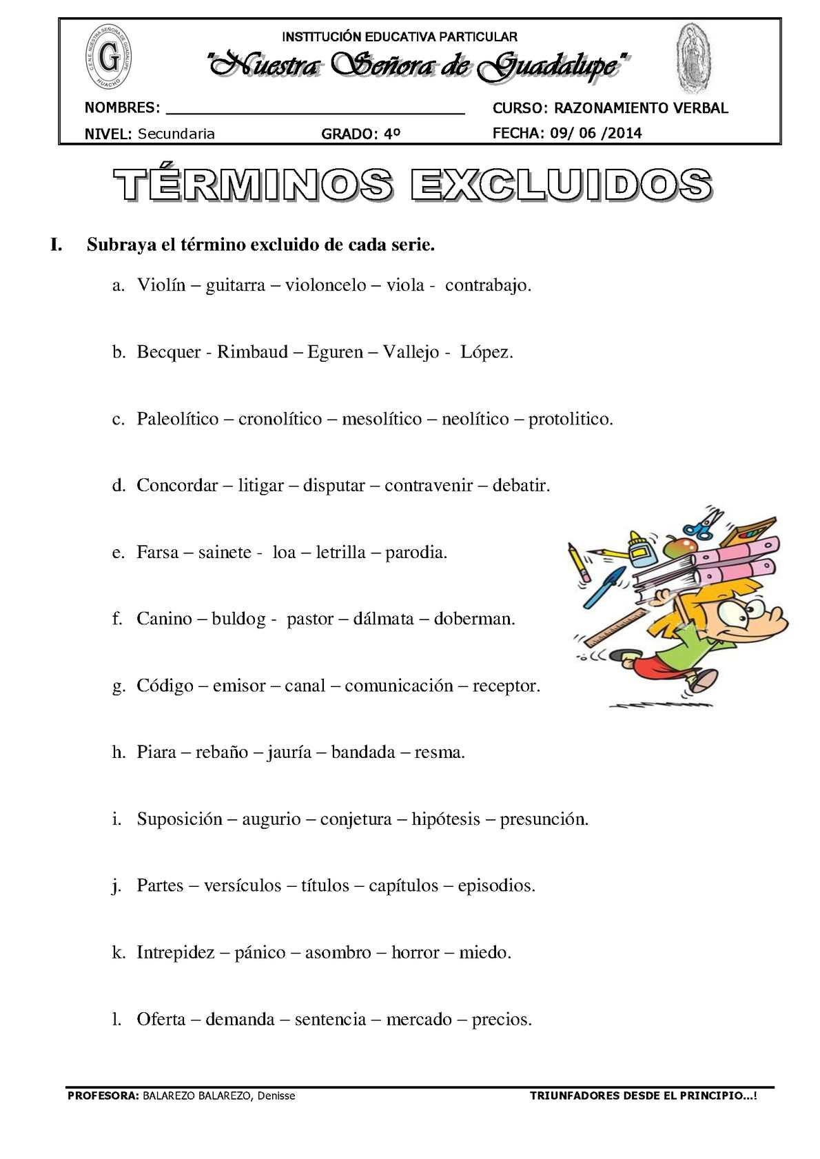 GUÍA DE TÉRMINOS EXCLUIDOS 4TO