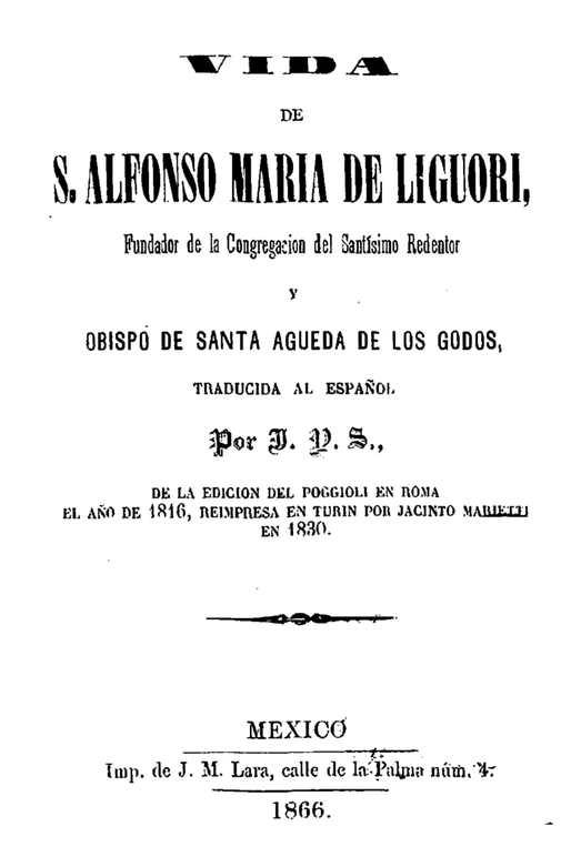 Vida de San Alfonso Marìa de Ligorio