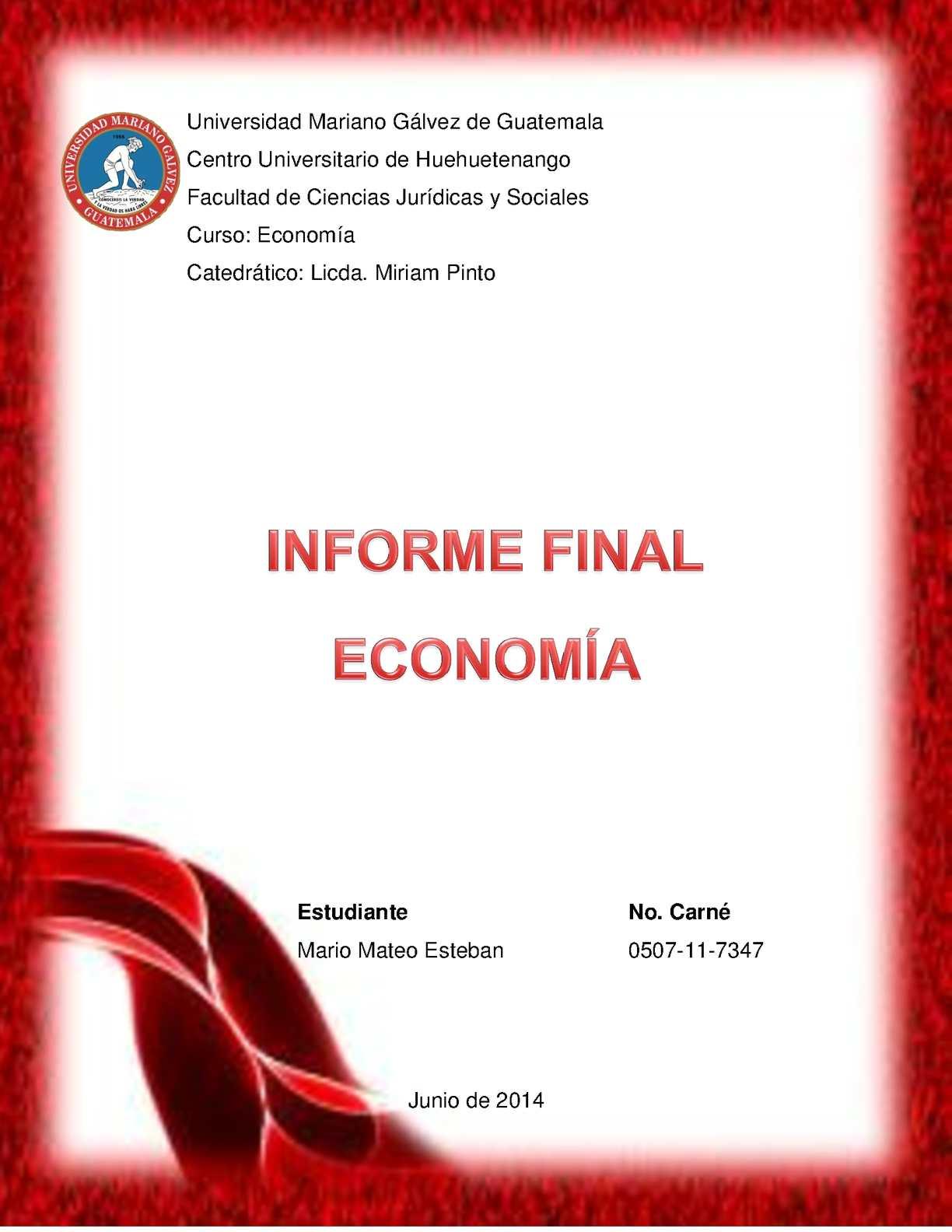 INFORME FINAL ECONOMÍA