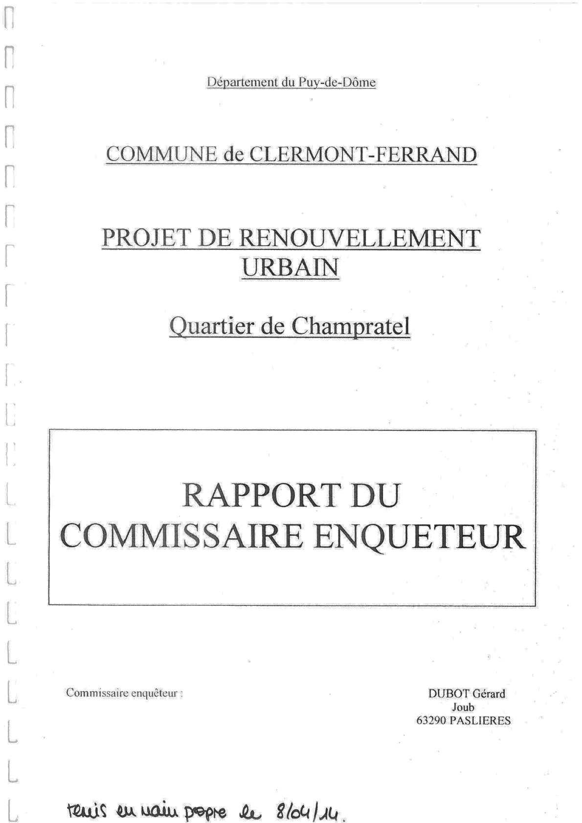 Projet de renouvellement urbain - Quartier de Champratel - Rapport du commissaire enquêteur