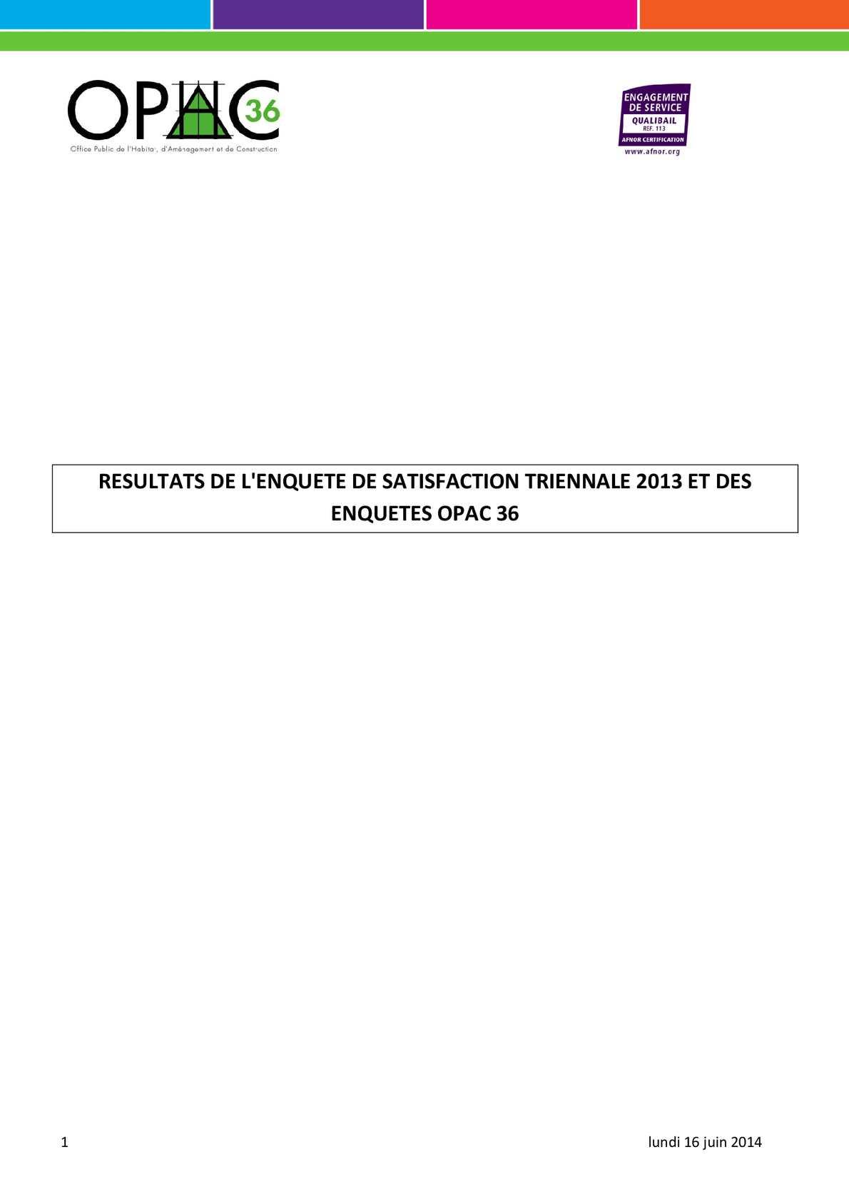 Calam o resultats de l 39 enquete de satisfaction triennale - Enquete de satisfaction pret a porter ...