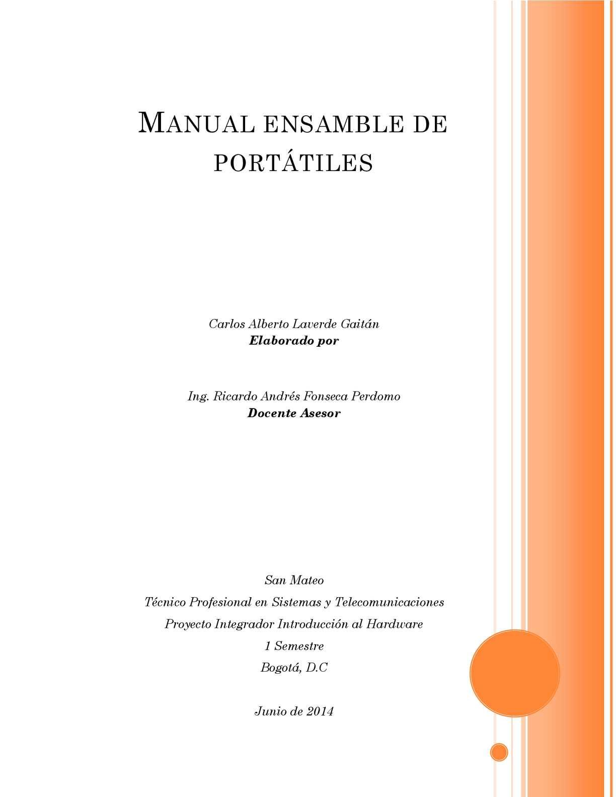 manual de ensamble de portatiles