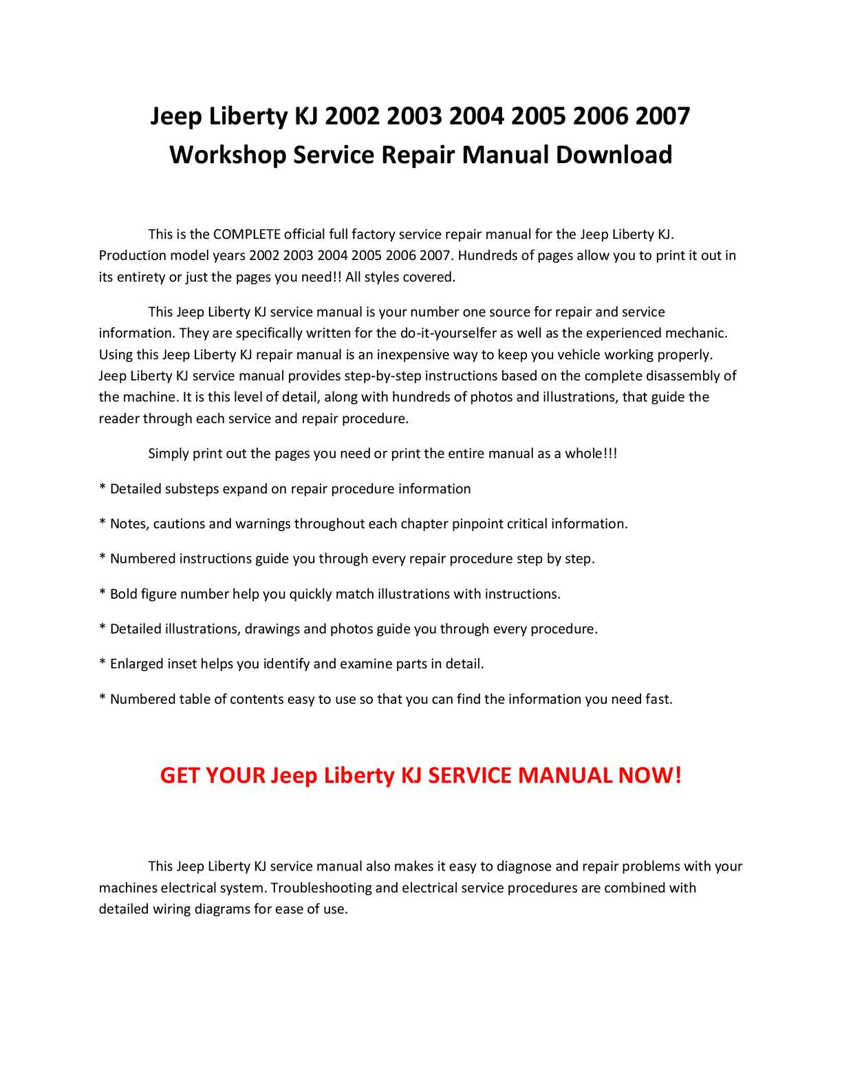 jeep liberty kj 2002 2007 service repair manual autos post. Black Bedroom Furniture Sets. Home Design Ideas