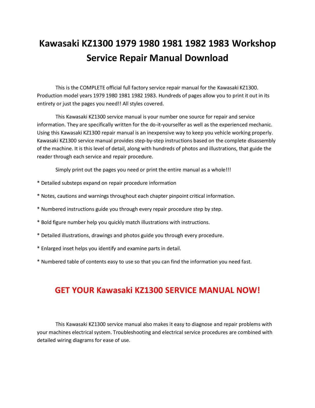 calam atilde copy o kawasaki kz service repair calamatildecopyo kawasaki kz1300 1979 1980 1981 1982 1983 service repair manual pdf