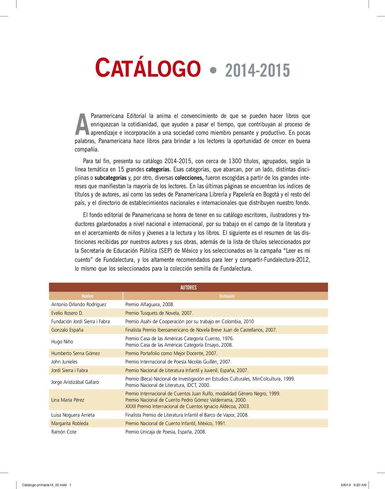 Calaméo - Catalogo primaria para imprimir. Optimizados 060614