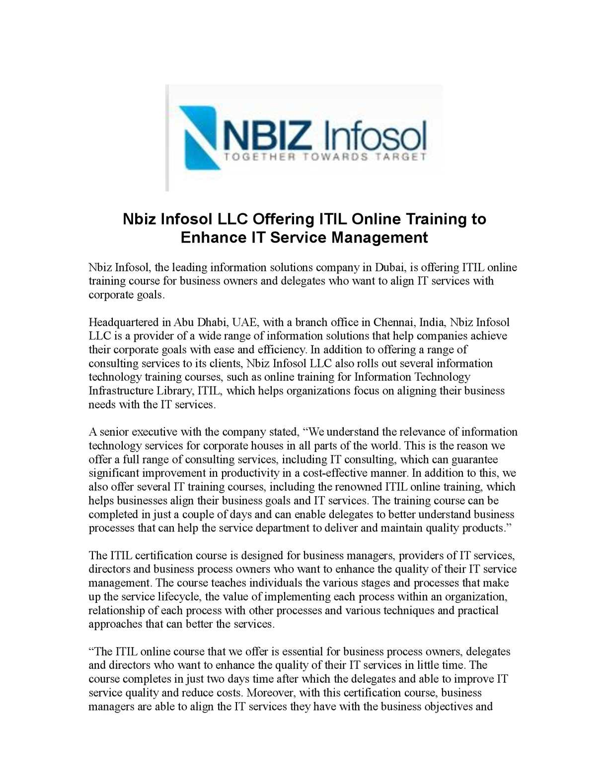 Calamo Nbiz Infosol Llc Offering Itil Online Training To Enhance