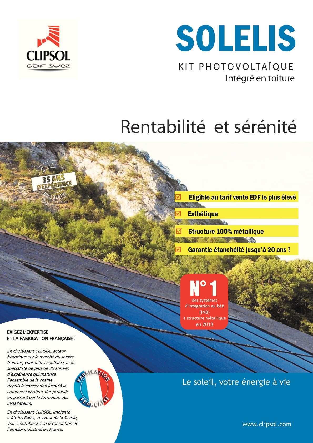Structure pour panneau photovoltaique en intégration Toiture SOLELIS