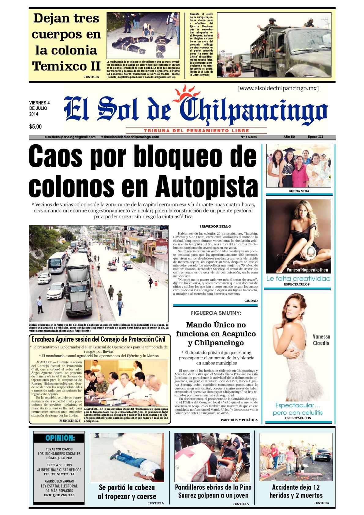 Calaméo - El Sol de Chilpancingo 04 Julio 2014