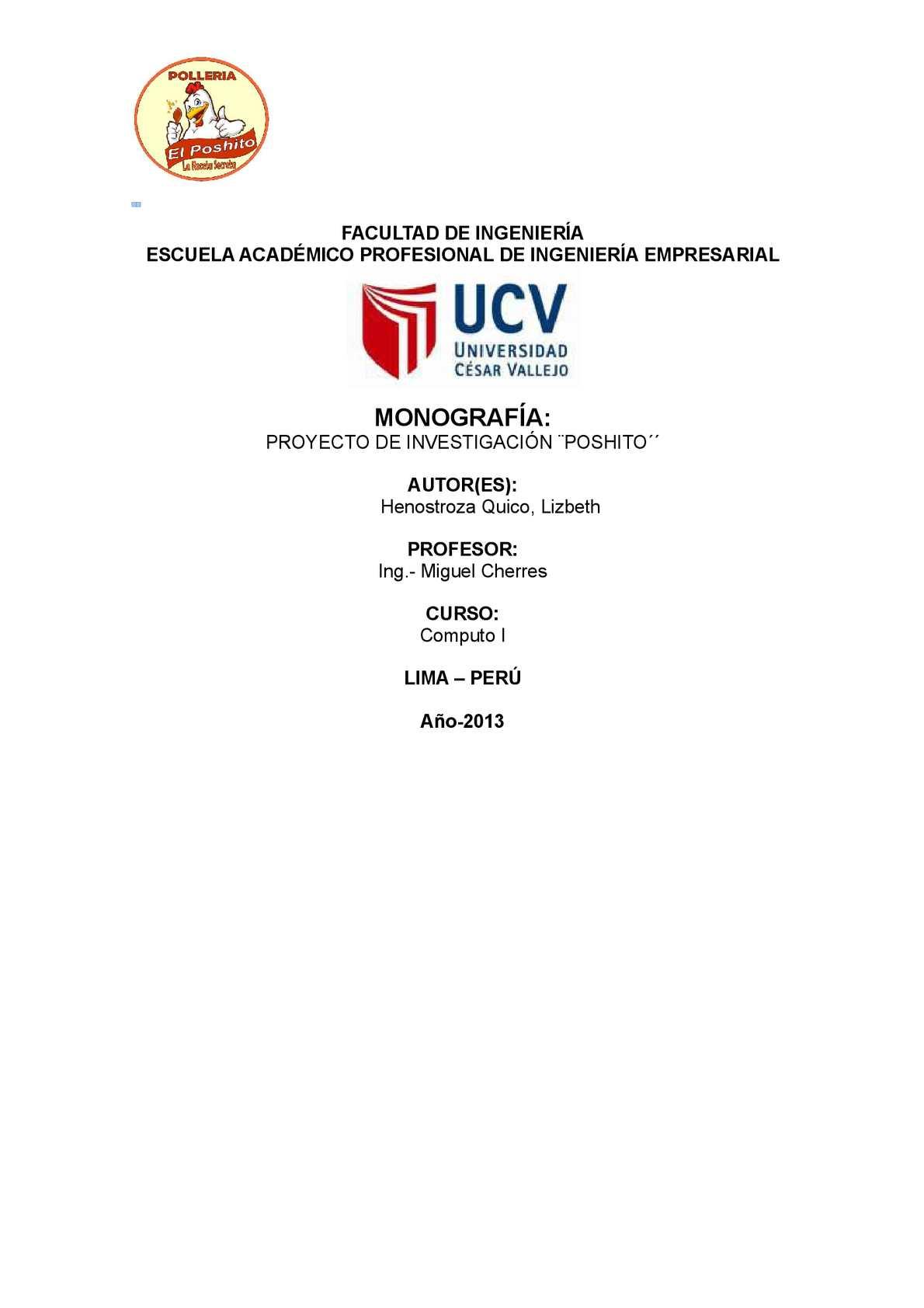 """ESTUDIO DE MERCADO DEL RESTAURANTE POLLERIA """"POSHITO"""""""