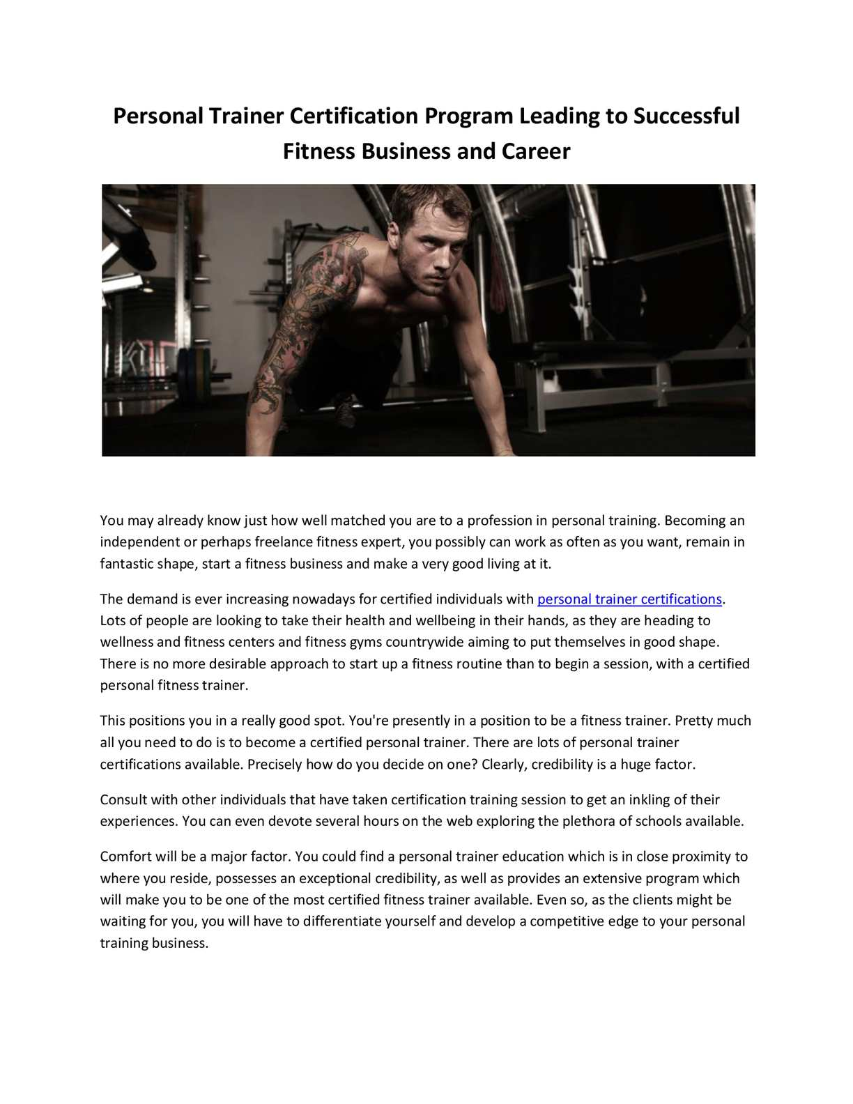 Calamo Personal Trainer Certification