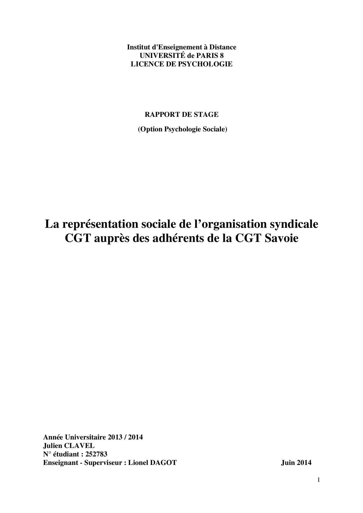 Calam o repr sentation sociale rapport de stage cgt 73 - Page de garde rapport de stage open office ...