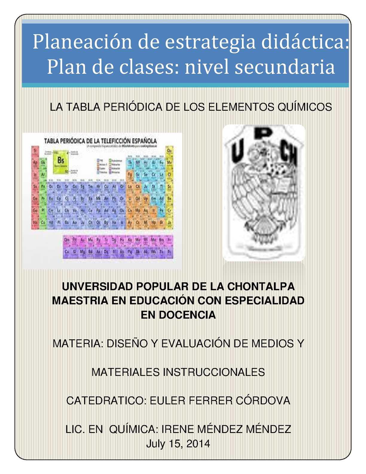 calamo reporte de plan de clases - Tabla Periodica De Los Elementos Secundaria