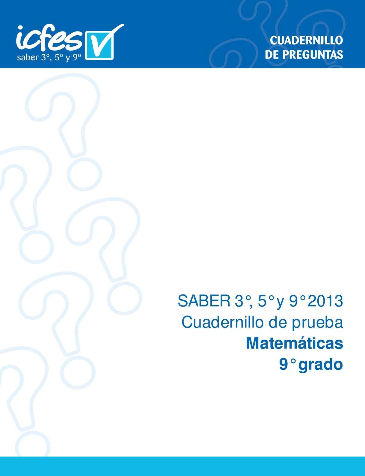 CUADERNILLO SABER 9- ICFES 2013