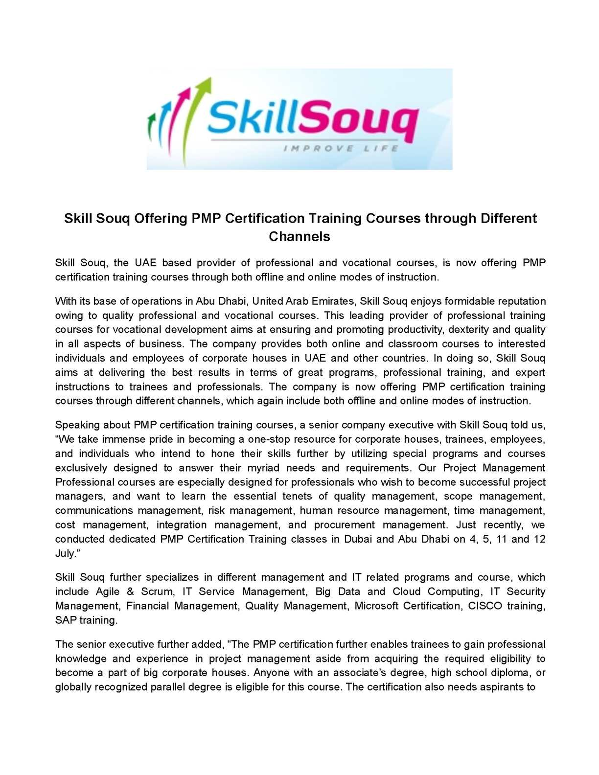 Calamo Skill Souq Offering Pmp Certification Training Courses
