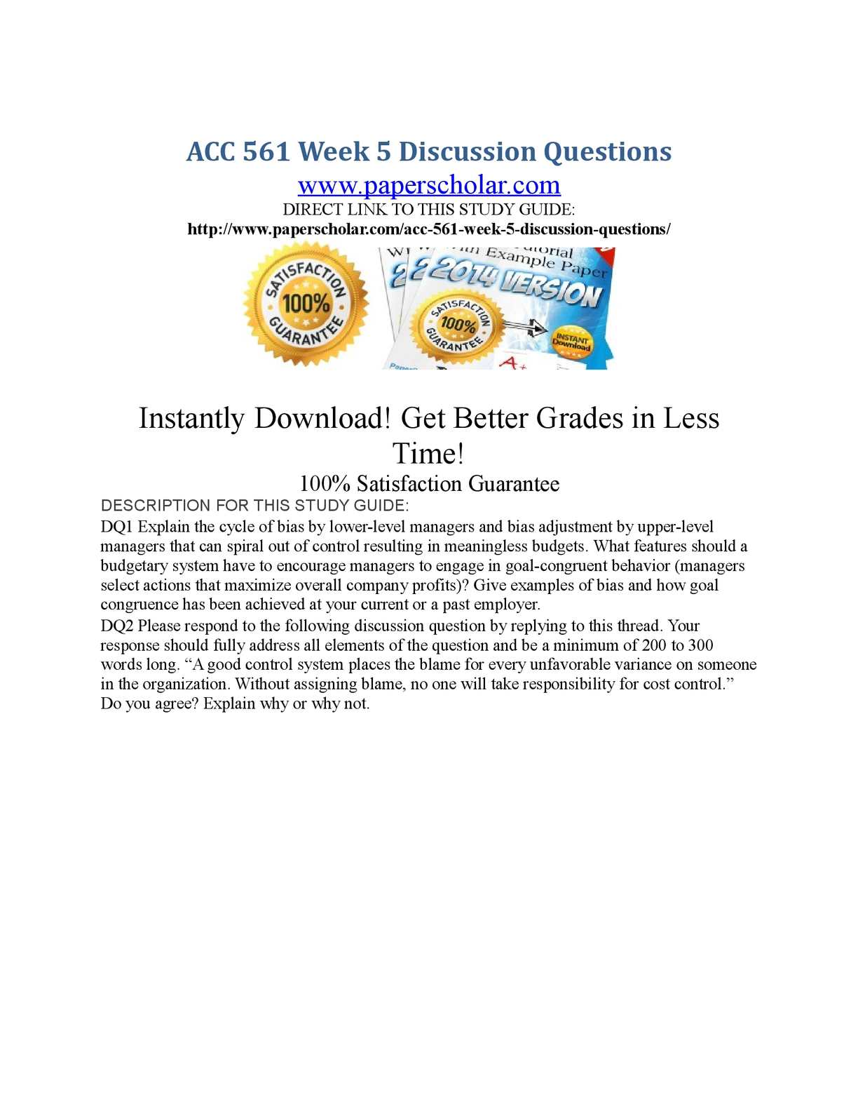 acc 561 week 3 discussion questions Acc 561 entire course (with final guide) 23 questions) acc 561 week 1 individual assignment acc 561 week 5 assignment case study cost volume profit.