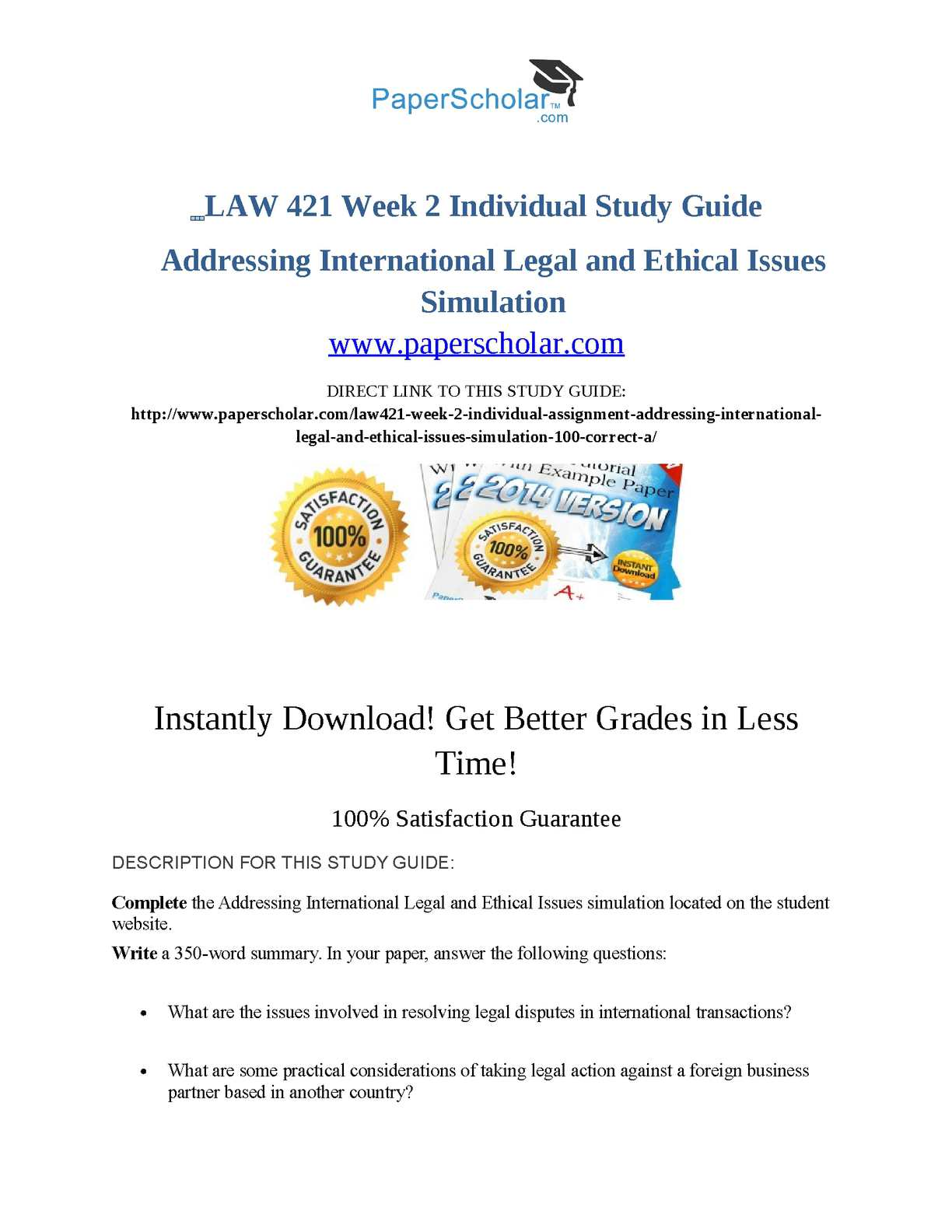 LAW 421 – Addressing International Legal and Ethical Issues Simulation Summary