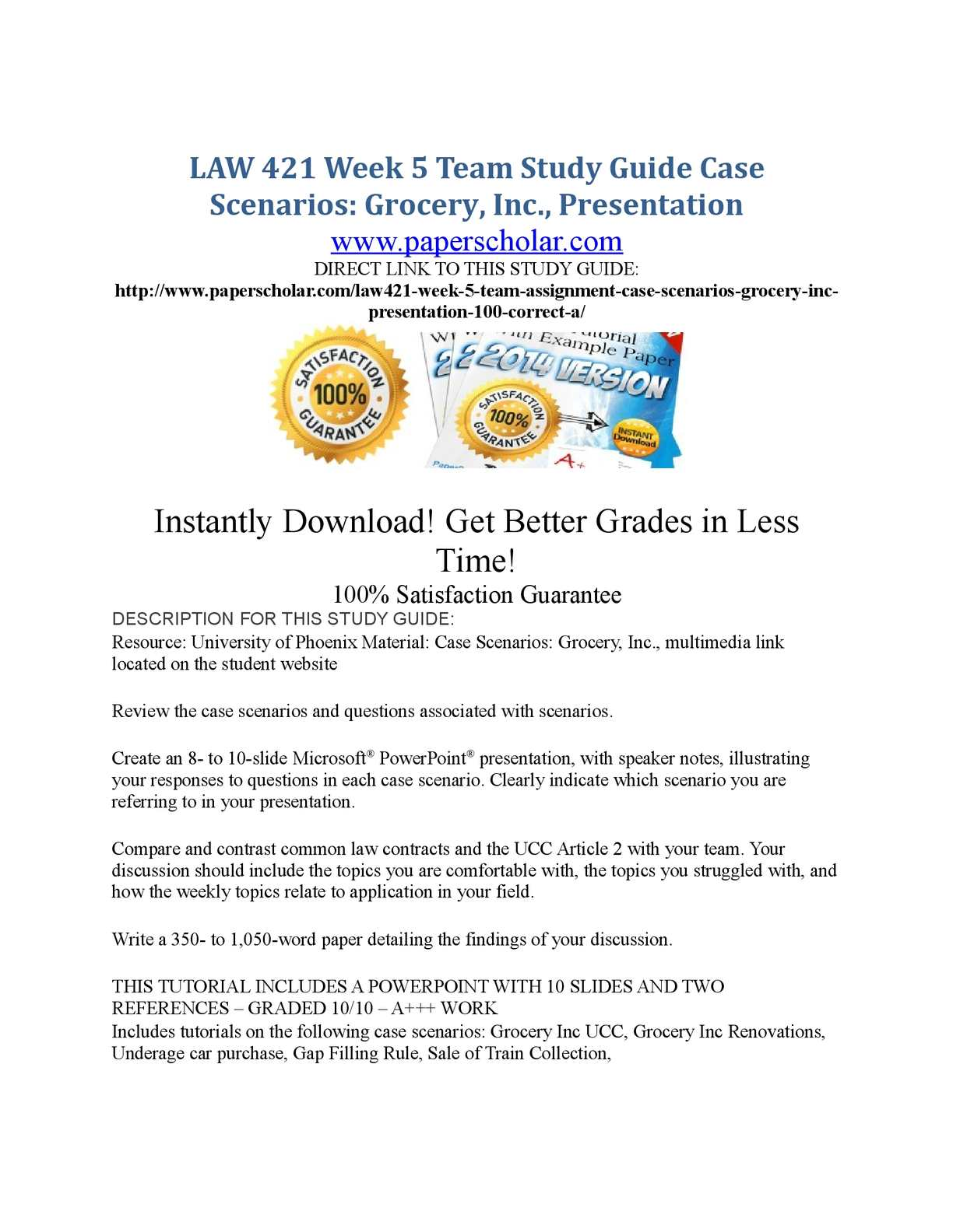 grocery inc law 421 Learning team case scenarios grocery inc presentation resource university of phoenix material multimedia link located on the.
