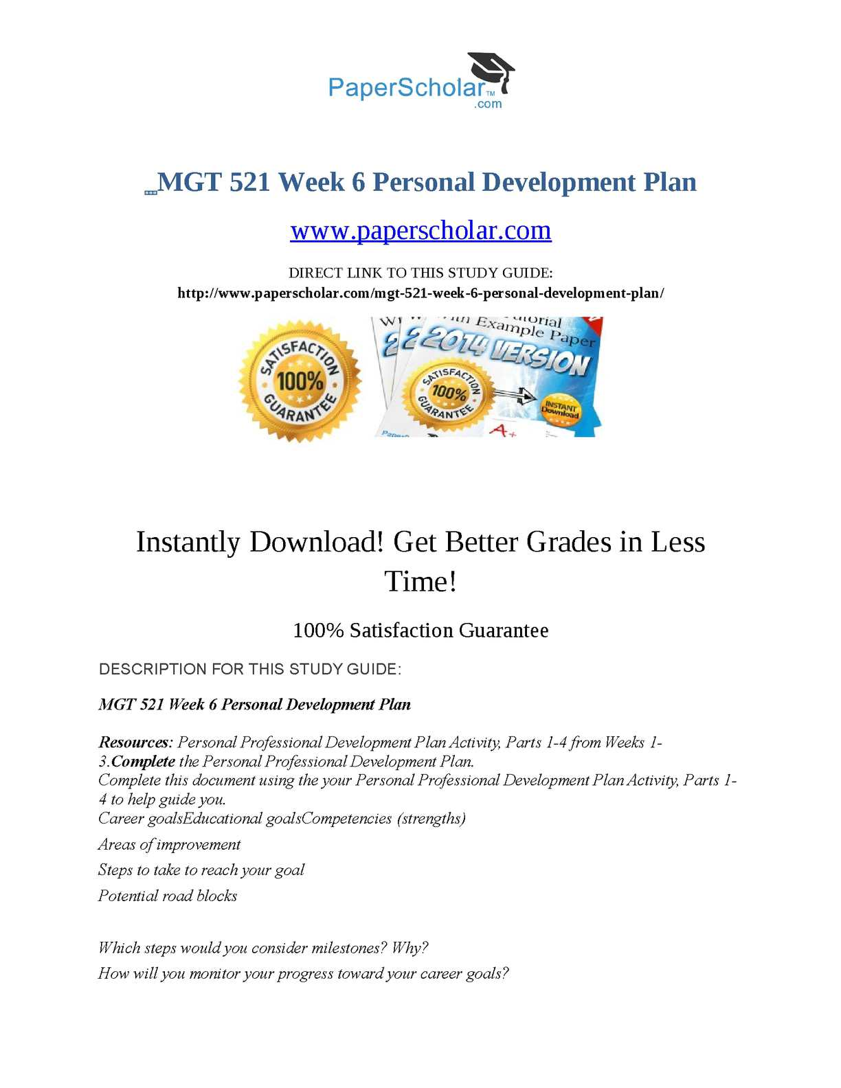 Calam o mgt 521 week 6 personal development plan for 521 plan