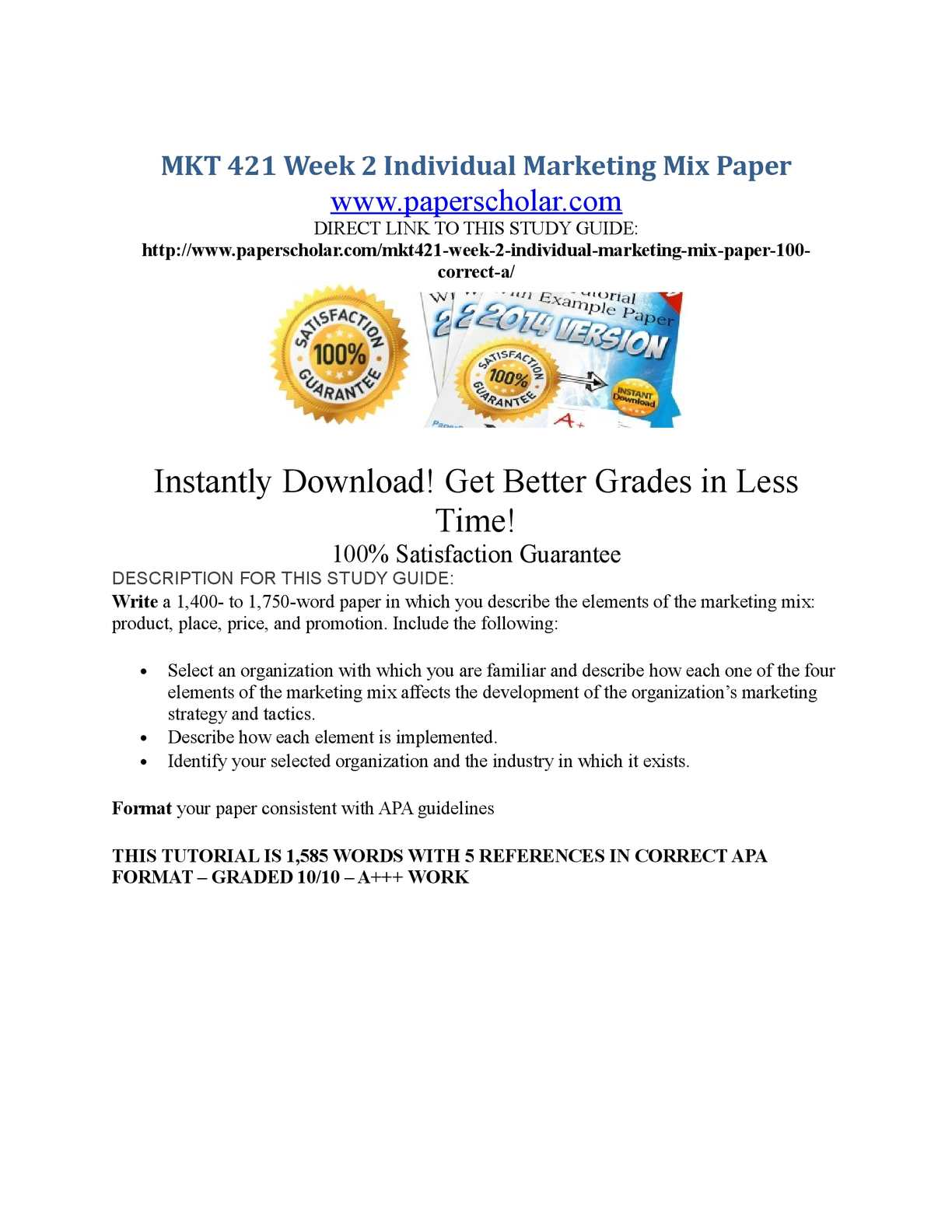 mkt421 week 2 ind Mkt 421 week 2 individual mkt 421 week 4 ind essay 1821 words | 8 pages mkt/421 version 10 marketing individual using perceptual maps in marketing.
