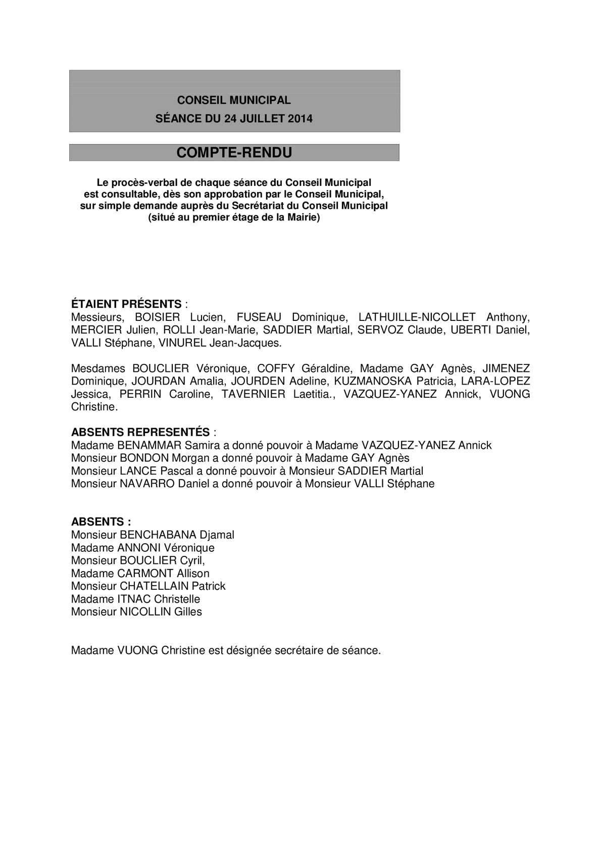 Calam 233 O Compte Rendu Du Conseil Du 24 Juillet 2014