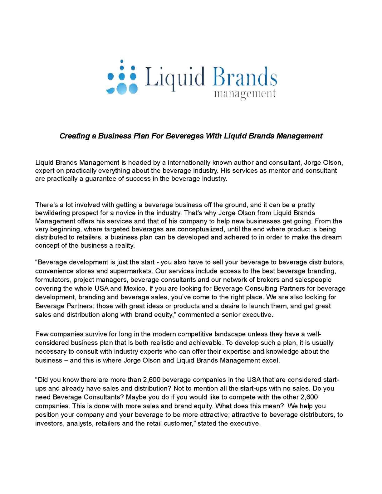 beverage business plan