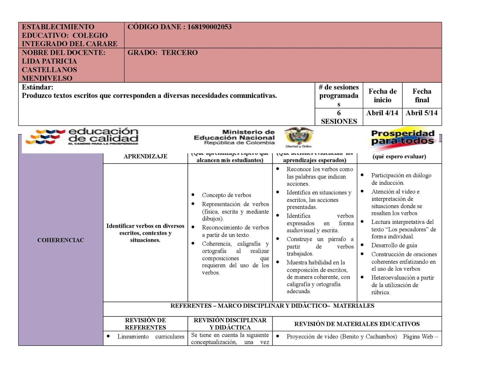 Calam o secuencia did ctica lenguaje 3 lida castellanos for Proyecto construccion de aulas escolares