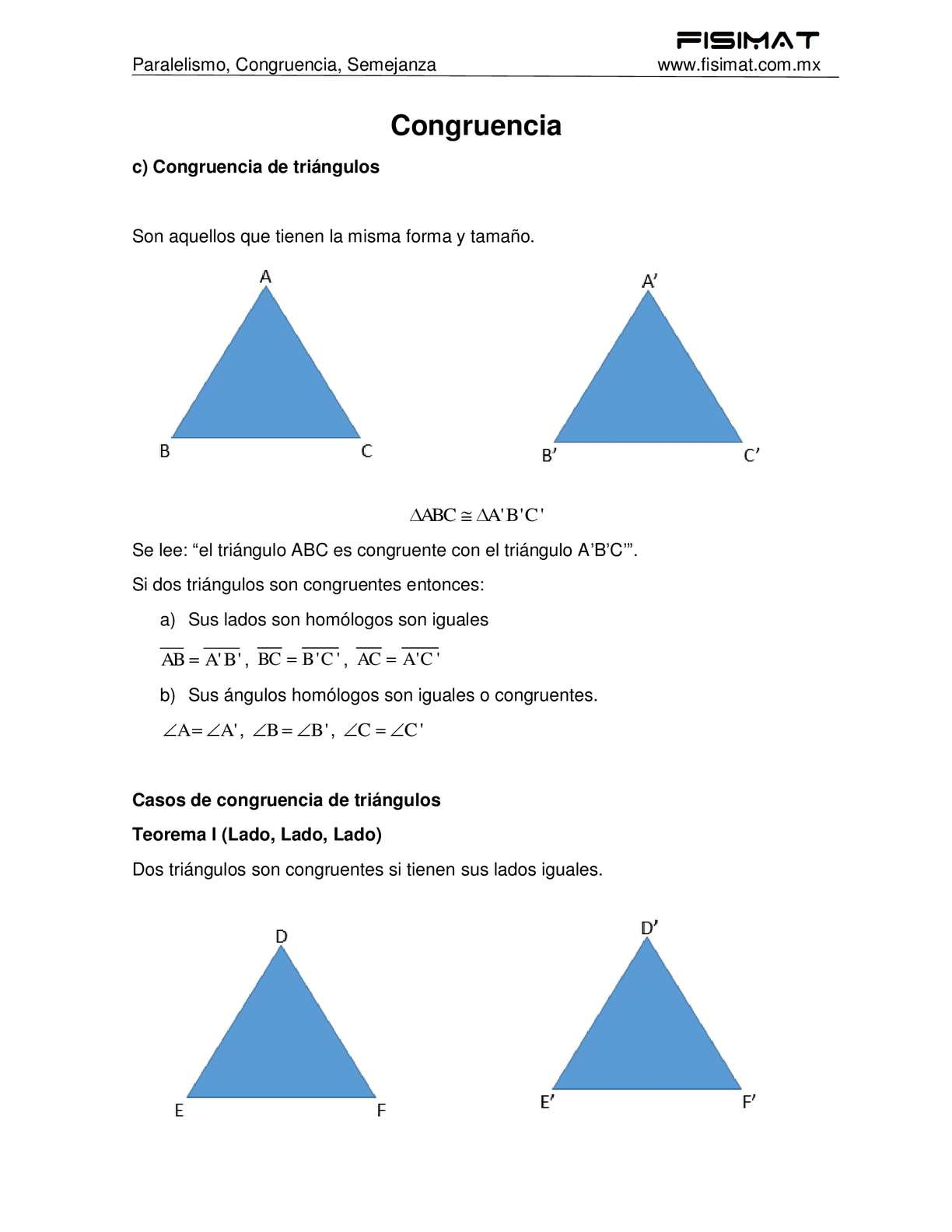 Congruencia - Geometría y Trigonometría