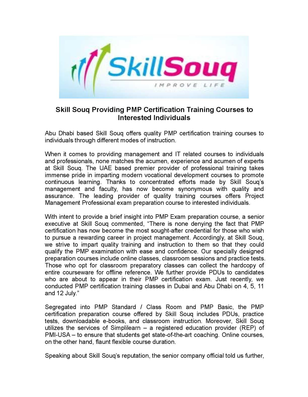 Calamo Skill Souq Providing Pmp Certification Training Courses To