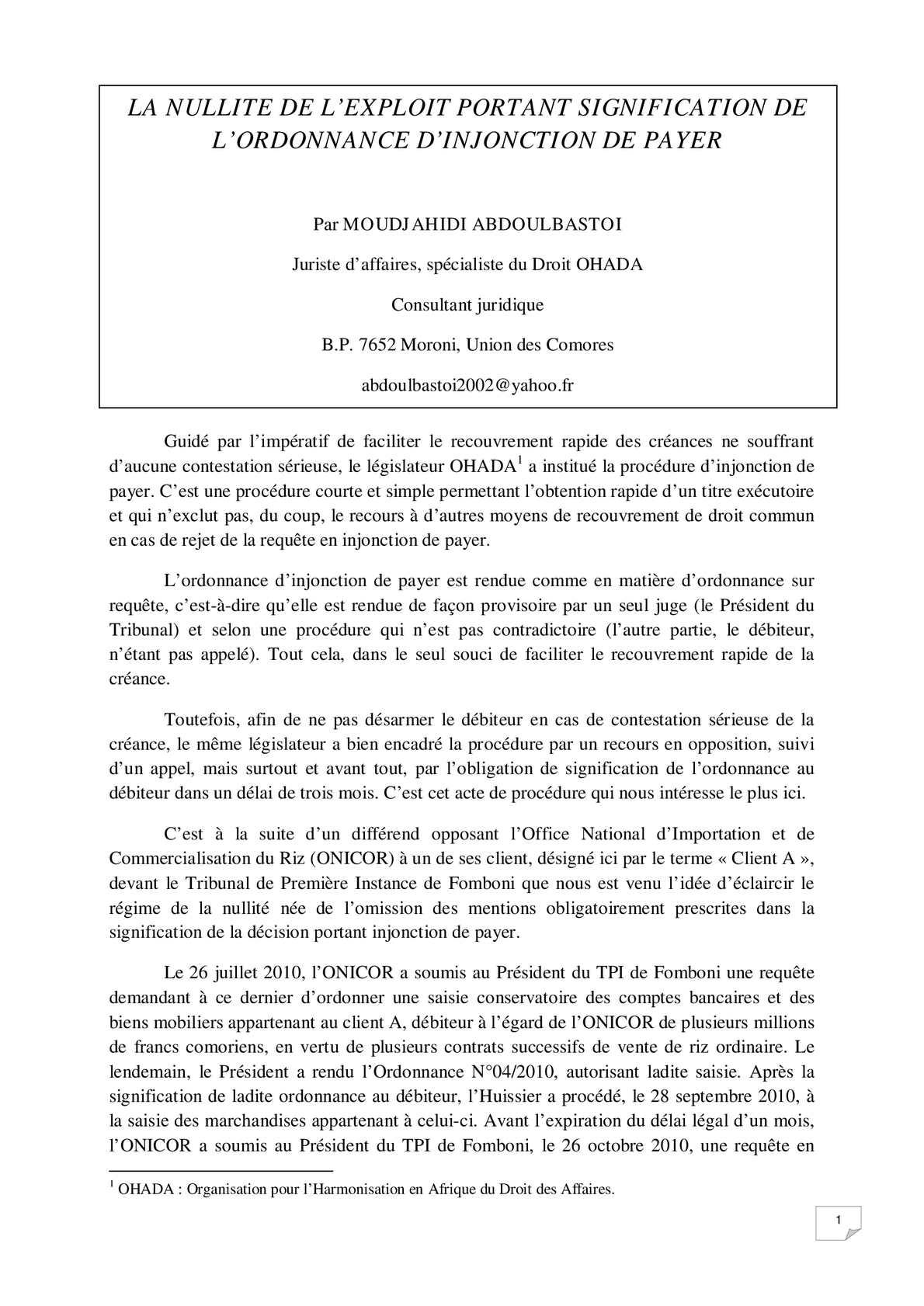 Calameo La Nullite De L Ordonnance D Injonction De Payer