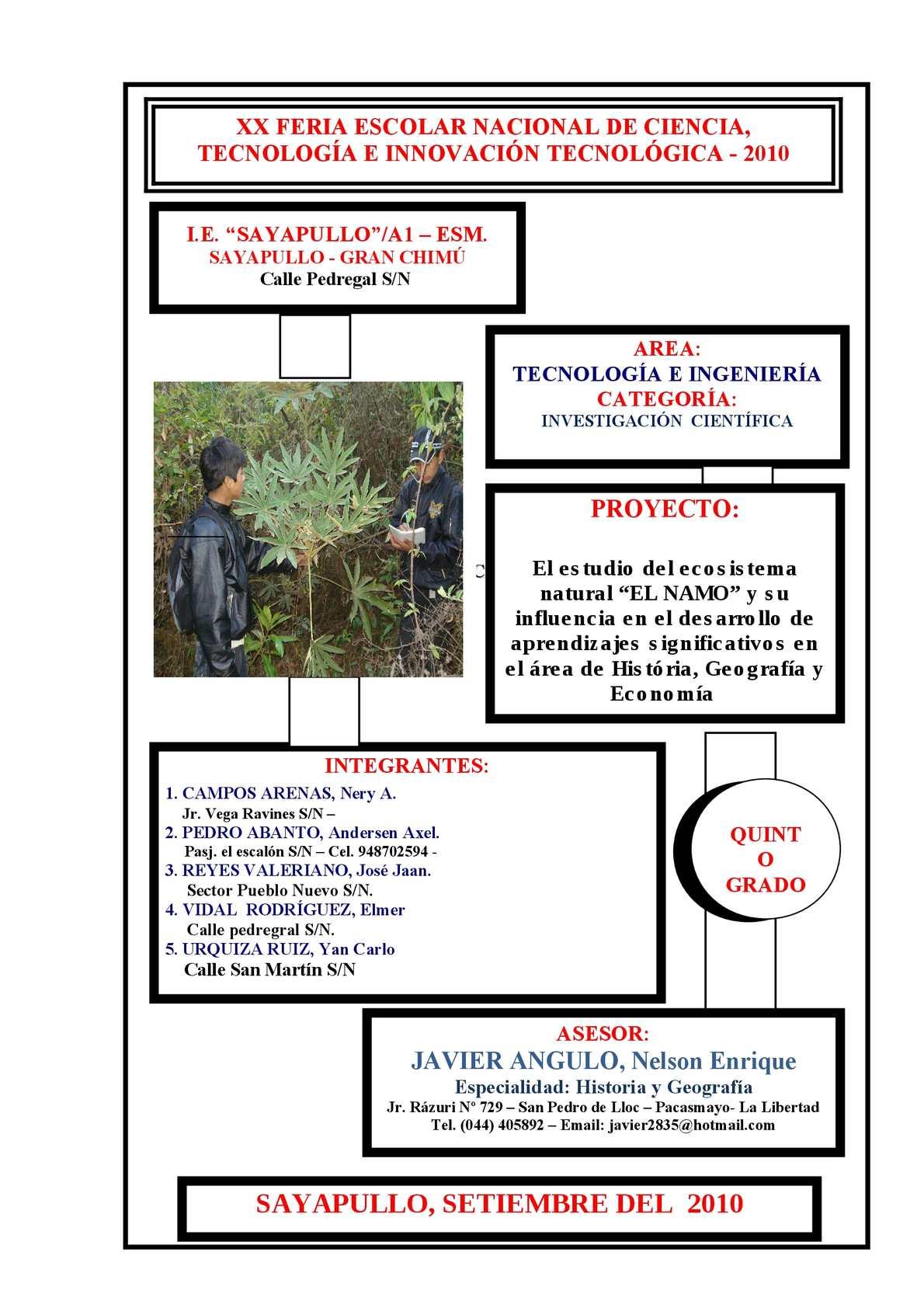 """PROYECTO FENCYT GANADOR REGIONAL 2010 : """"ESTUDIO DE LOS ECOSISTEMAS NATURALES Y EL DESARROLLO DE APRENDIZAJES SIGNIFICATIVOS"""""""