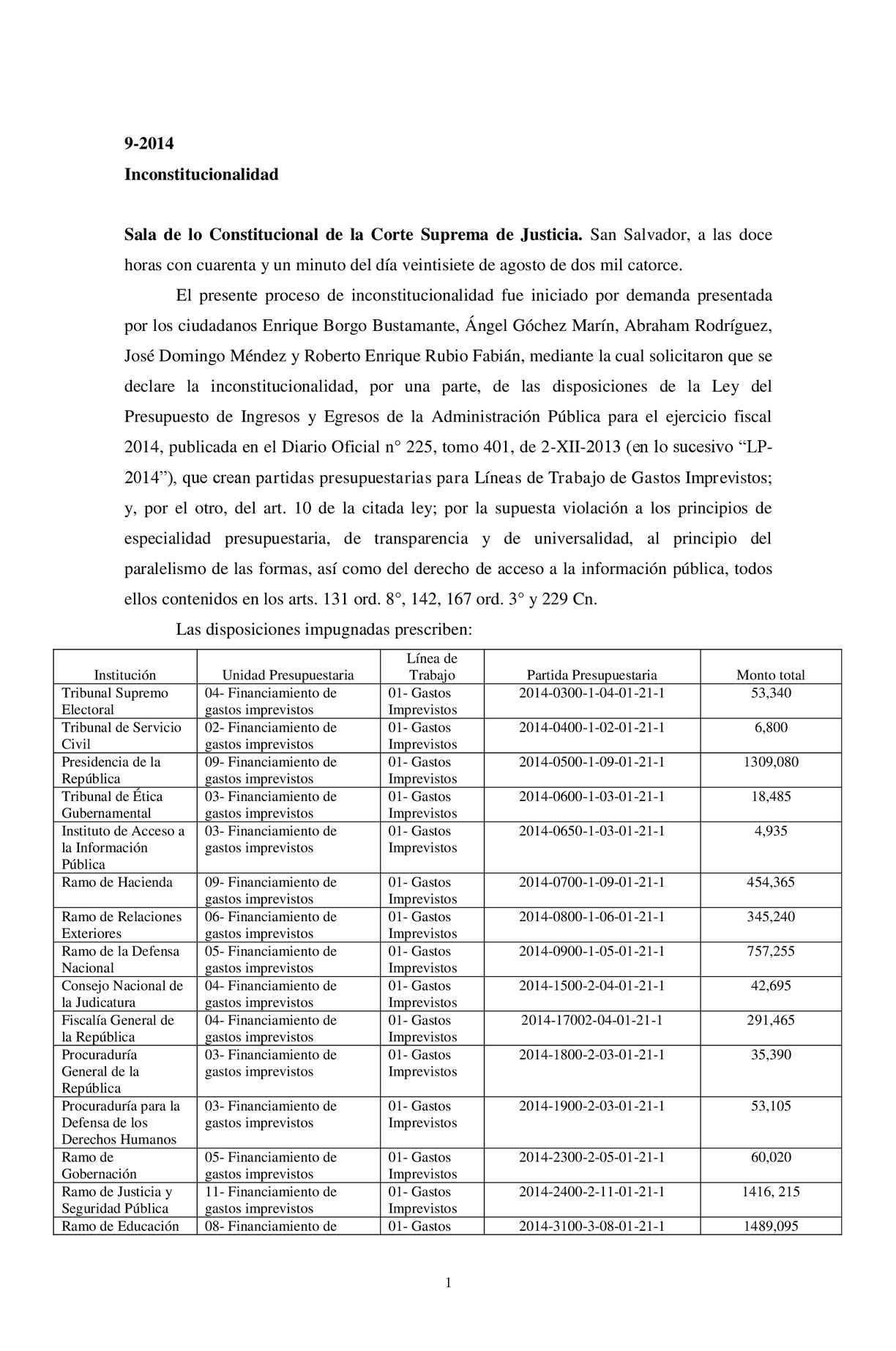 Sentencia de inconstitucionalidad 9-2014