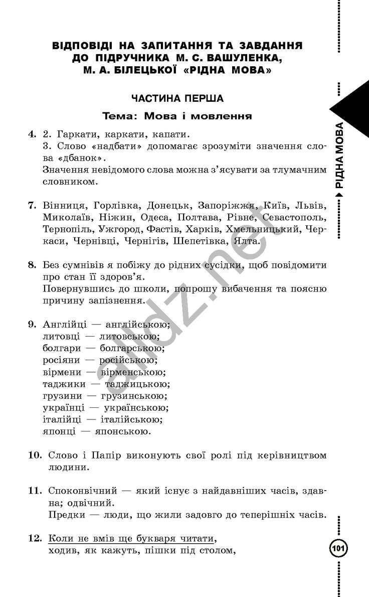 Рідна Мова 2 Клас Вашуленко Відповіді Гдз 2004 Р