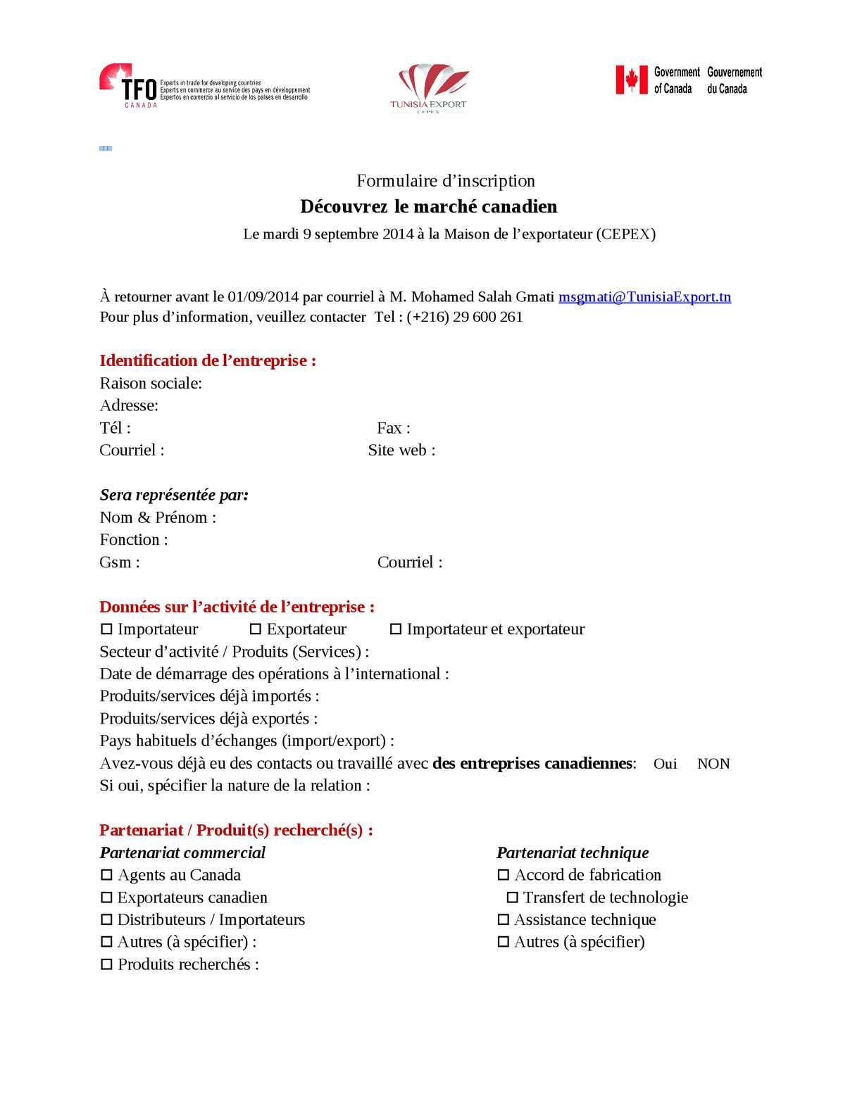 Calameo Formulaire D Inscription Tfo