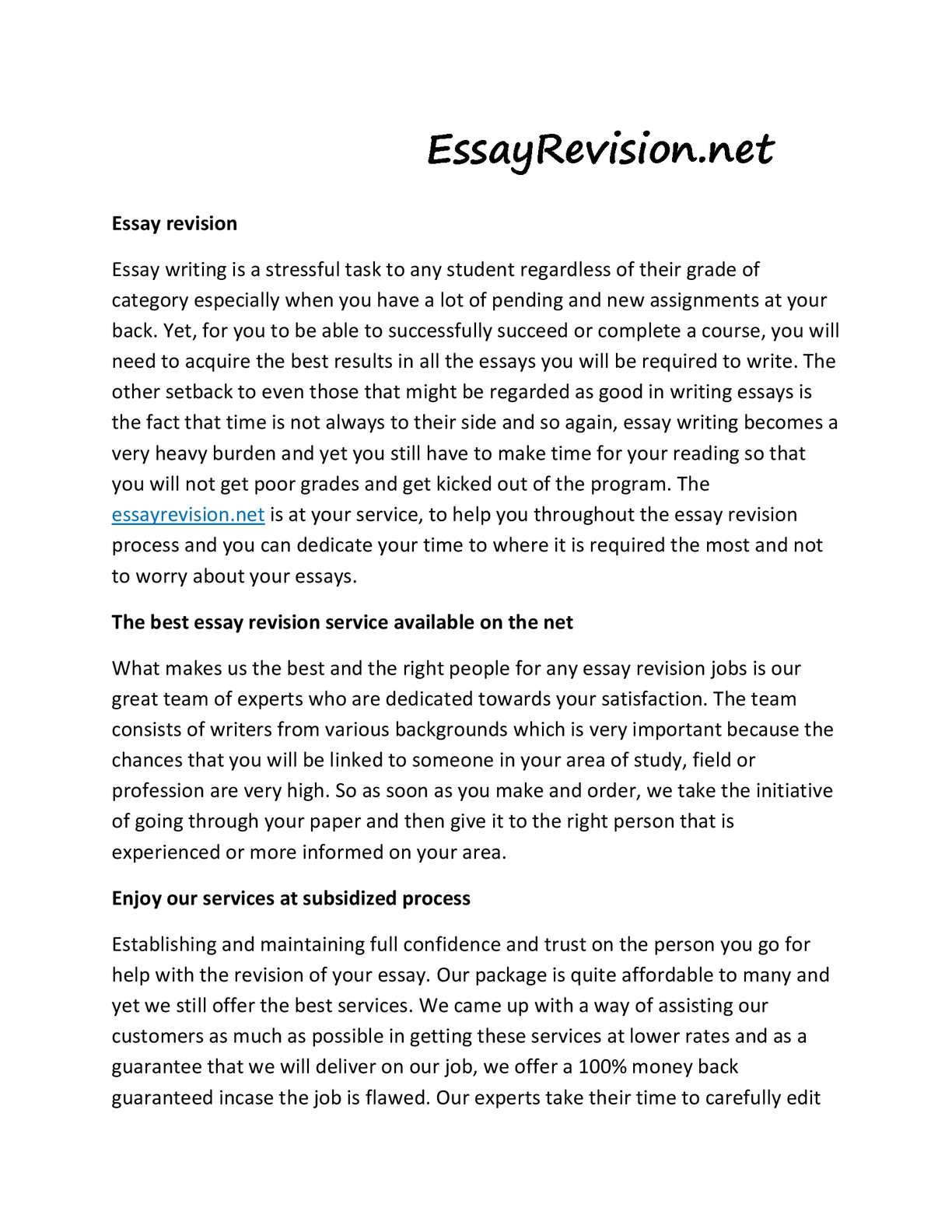 essay revision service