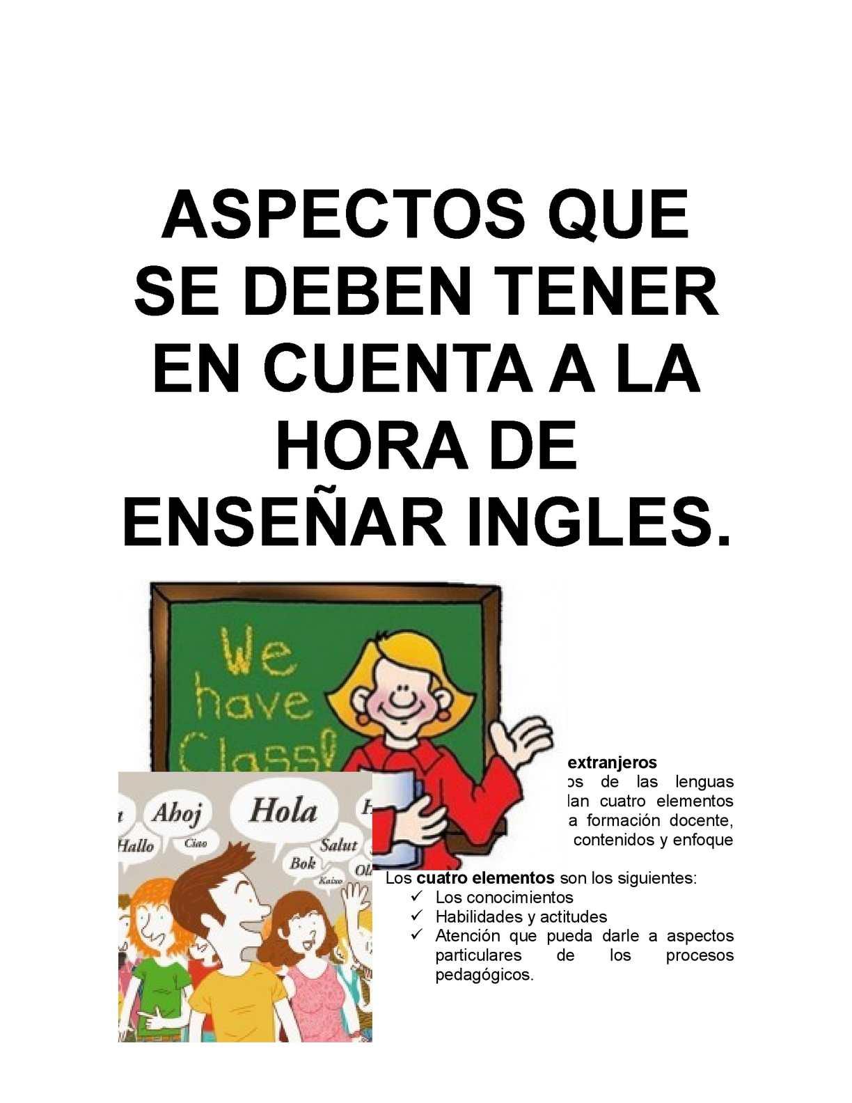 Calaméo - Aspectos a tener en cuenta a la hora de enseñar ingles.