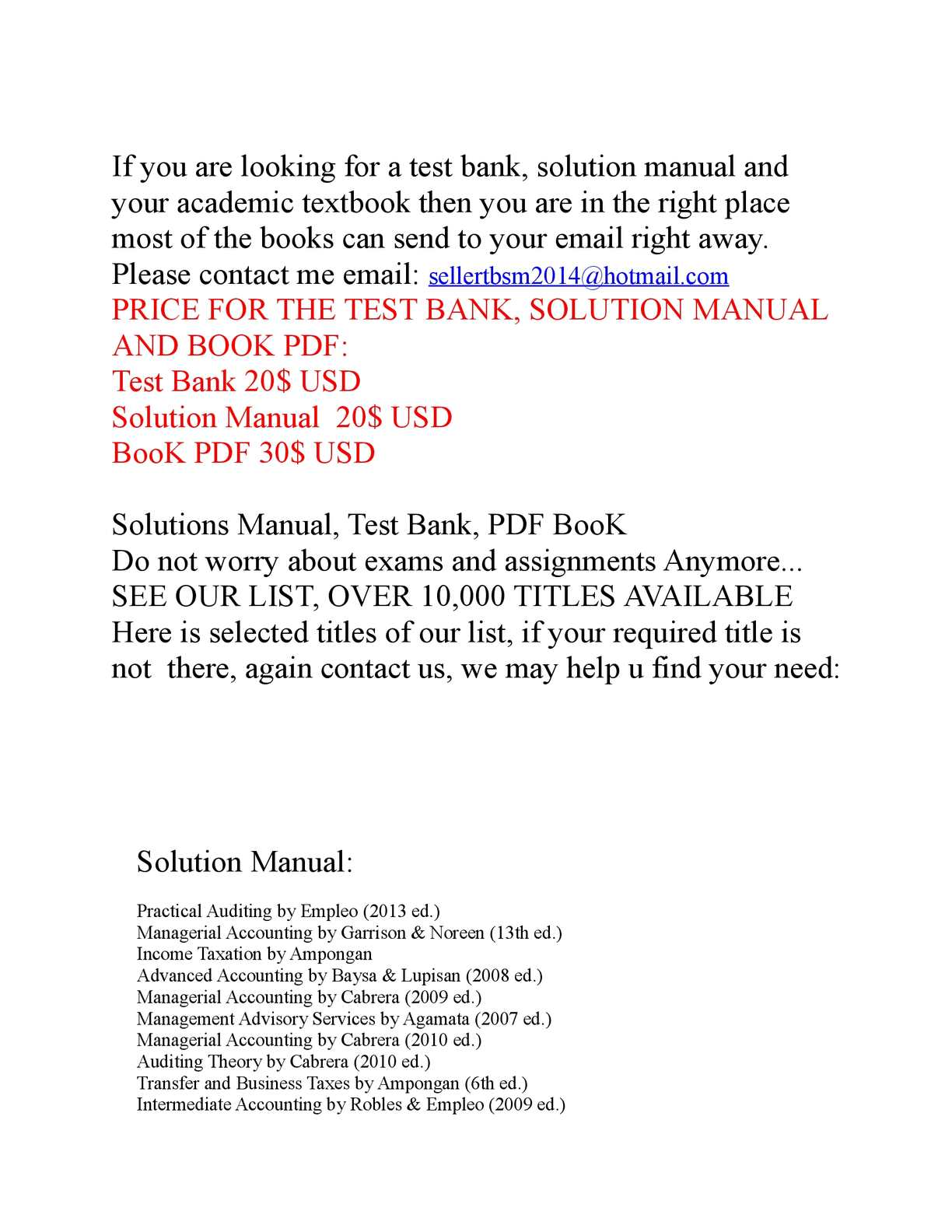 Calaméo - Selling Test Bank, Solution and PDF BooK. Solution Manual  Advanced Accounting ...