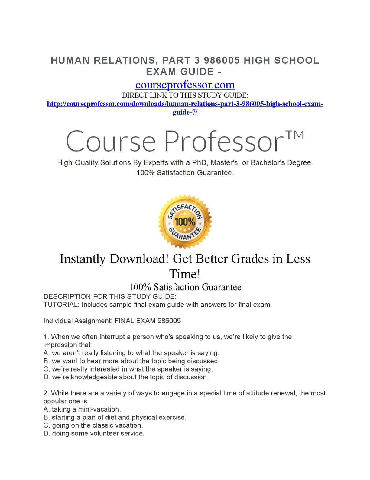 calaméo human relations part 3 986005 high school exam guide