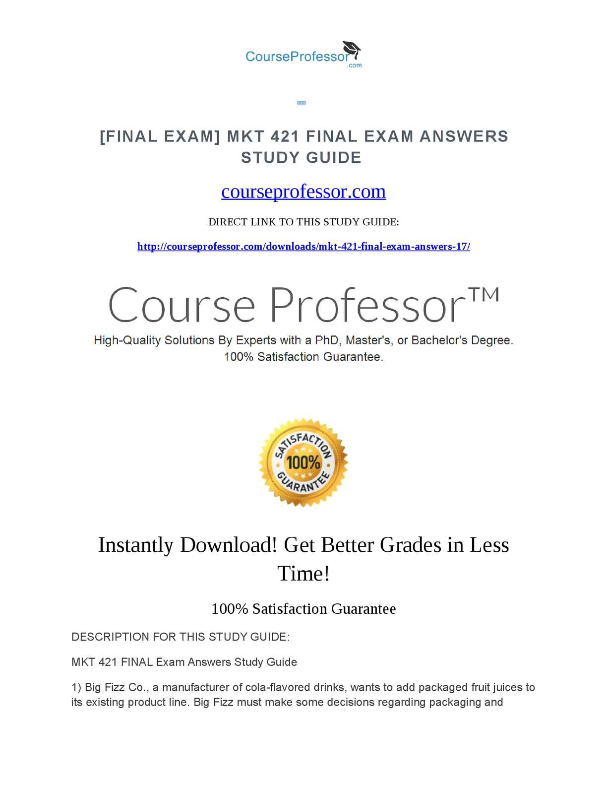 a sample of the final student exam