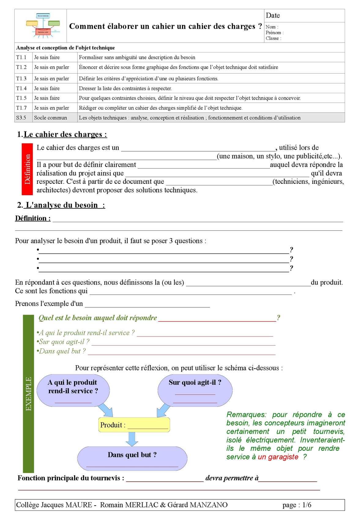Calaméo - cours 1 - le cahier des charges -élève