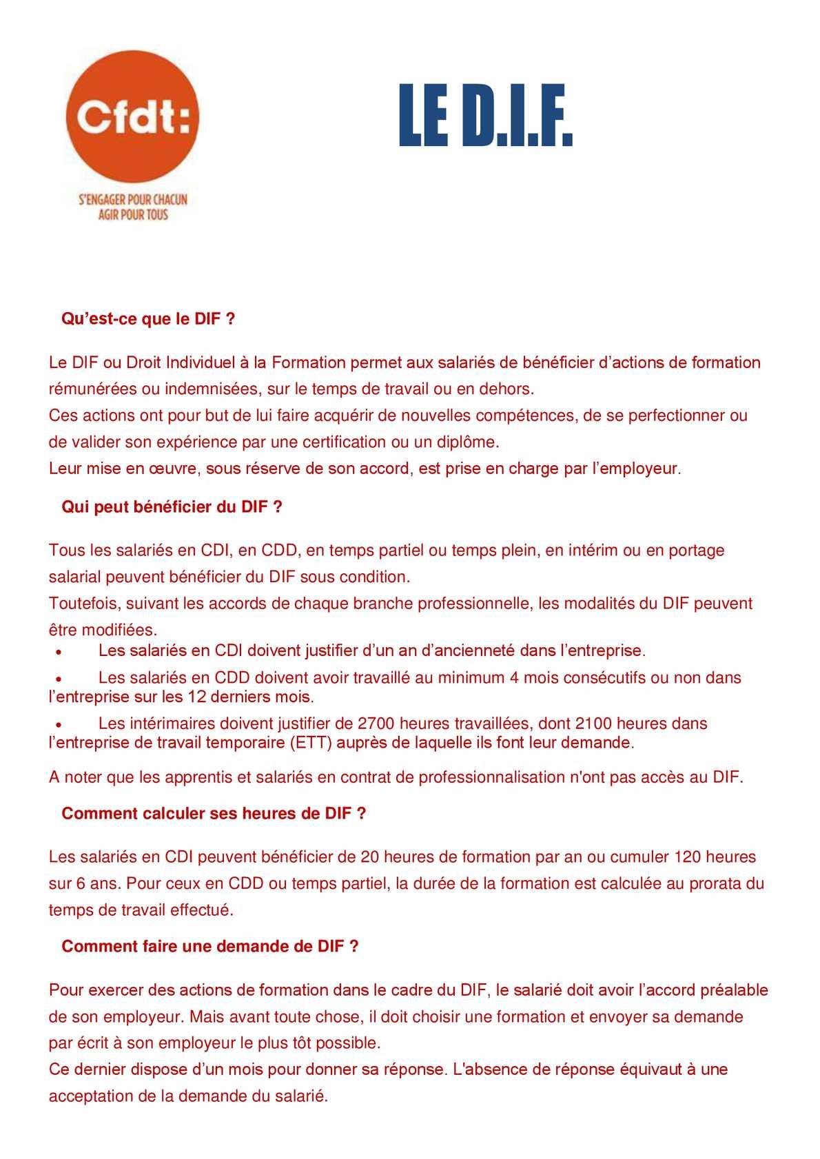 2fdc1e97e58 Calaméo - FAQ sur le DIF (Droit Indiduel à la Formation)