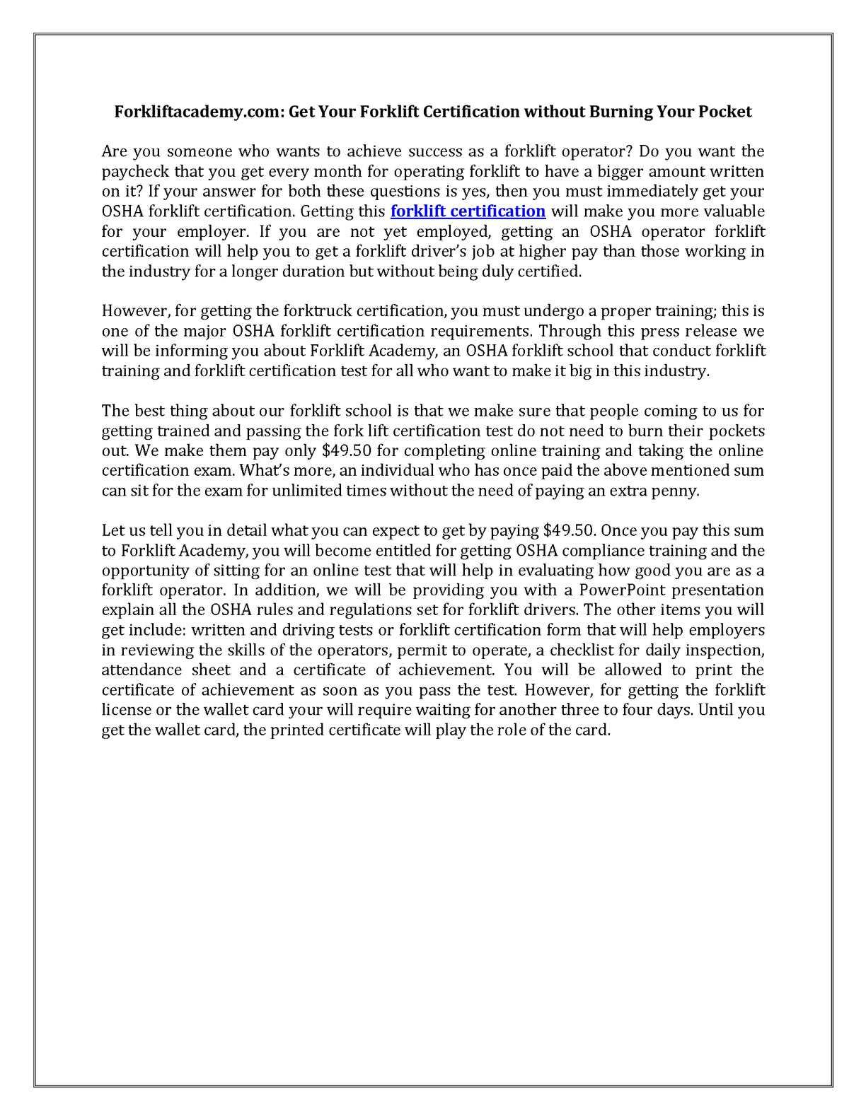 Calamo Osha Forklift Certification
