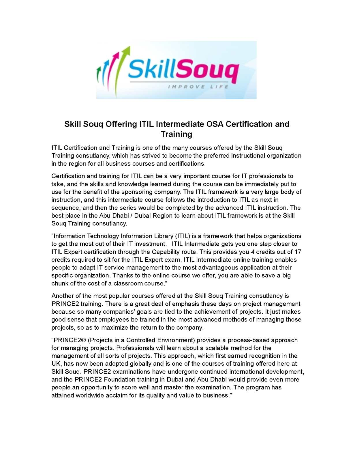 Calamo Skill Souq Offering Itil Intermediate Osa Certification