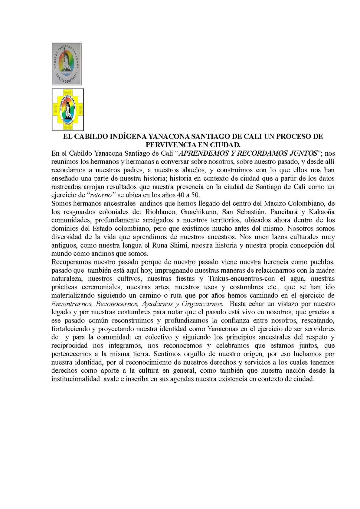 Cabildo Indígena Yanacona nuestro proceso en ciudad-Santiago de Cali