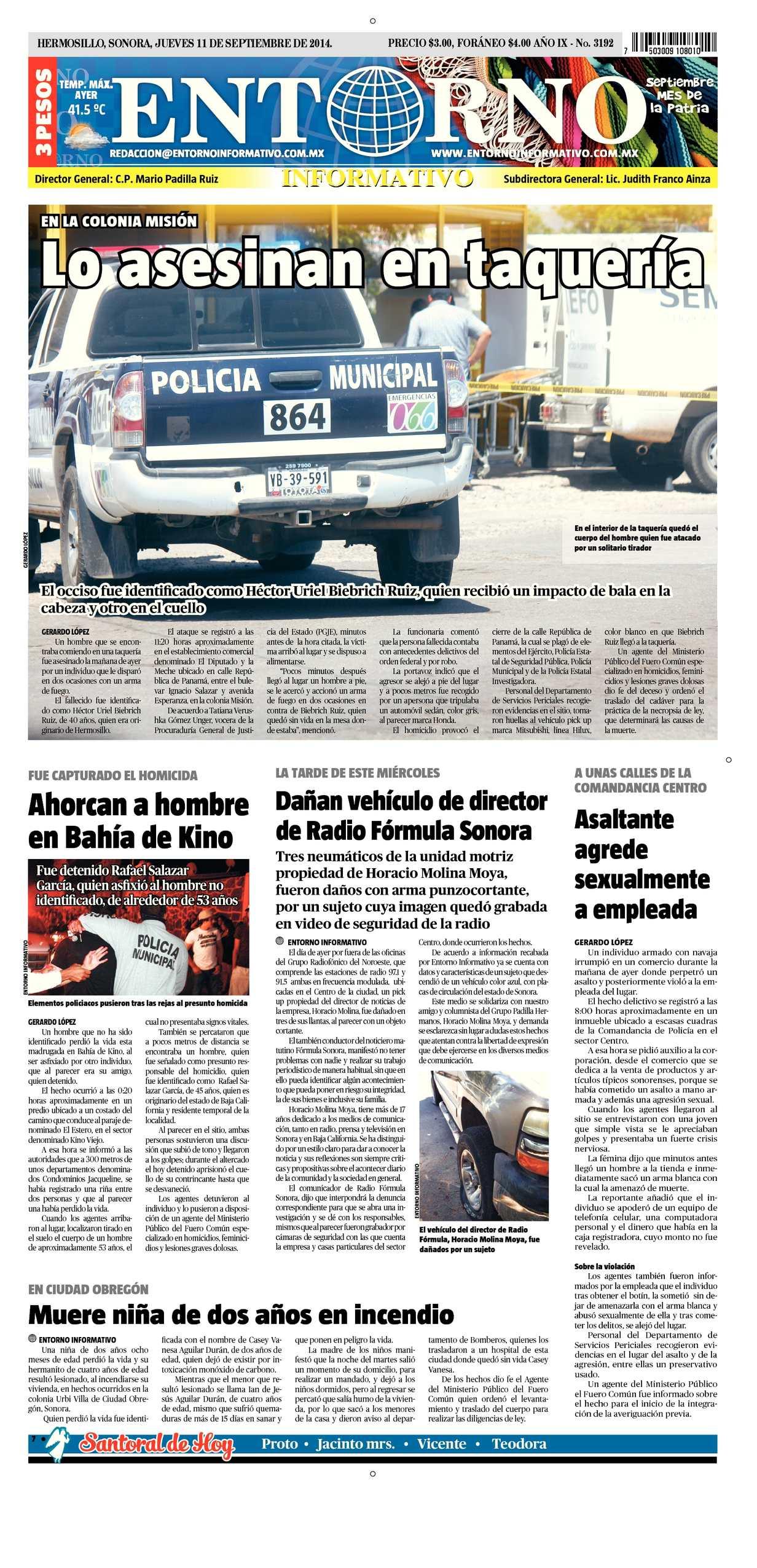 Calaméo - Entorno Informativo 11 de septiembre del 2014