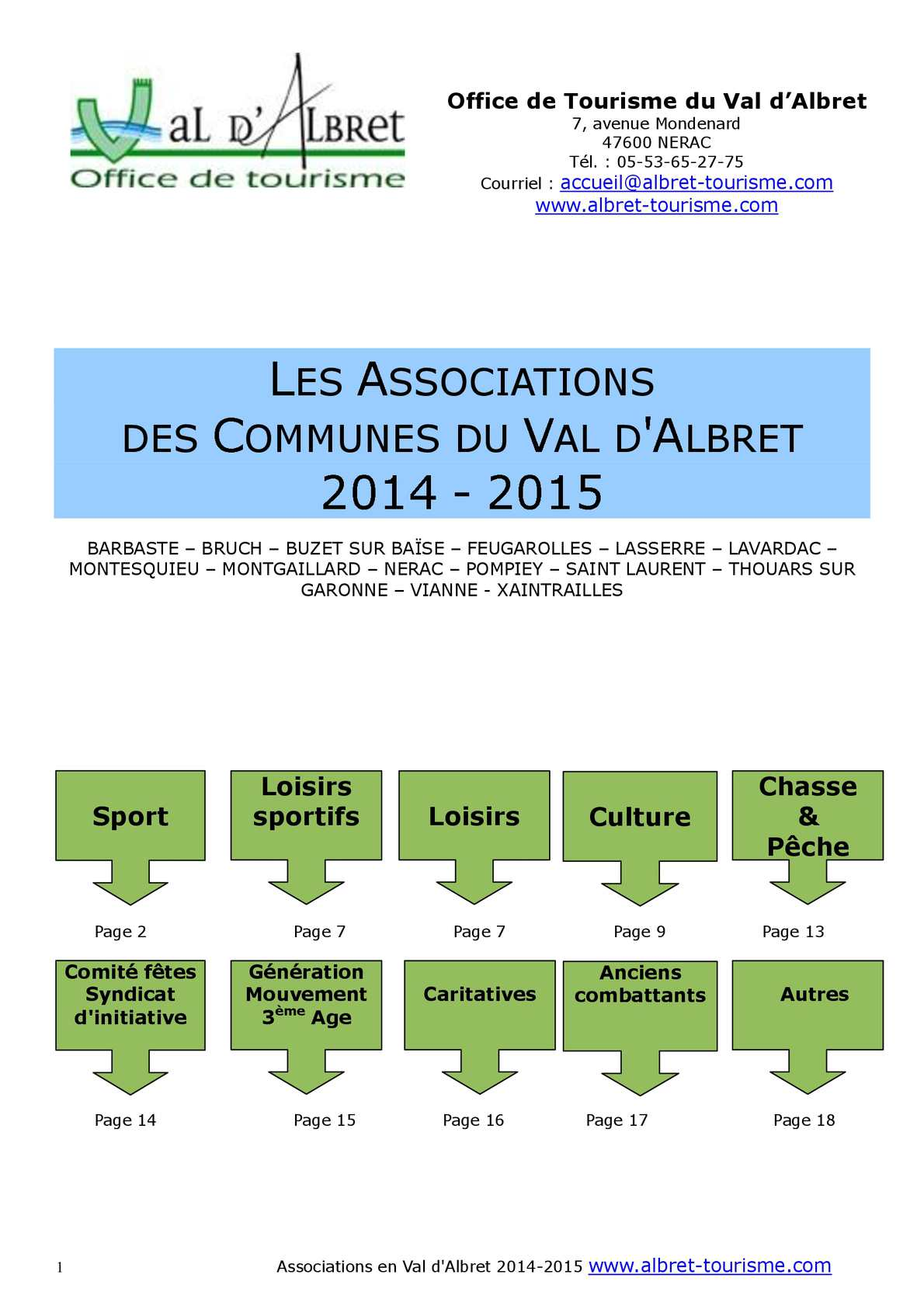Calam o guide des associations du val d 39 albret 2014 2015 - Office du tourisme thouars ...