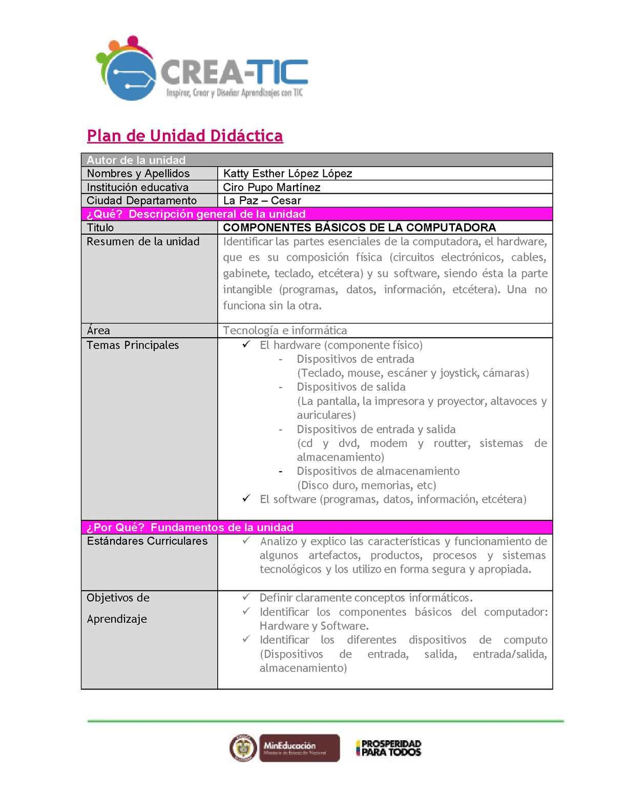 Plan unidad didactica