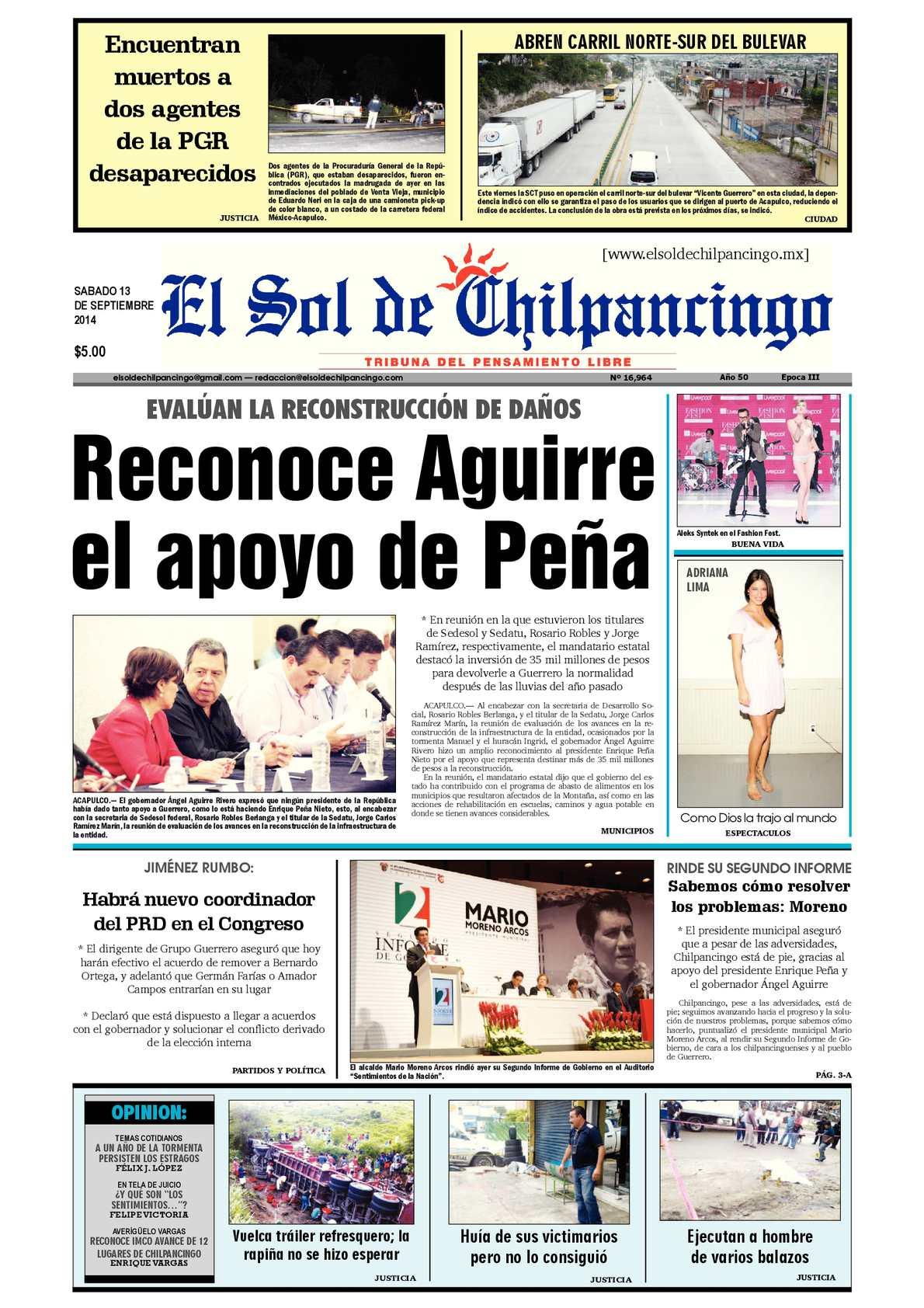 Calaméo - El Sol de Chilpancingo 13 Septiembre 2014