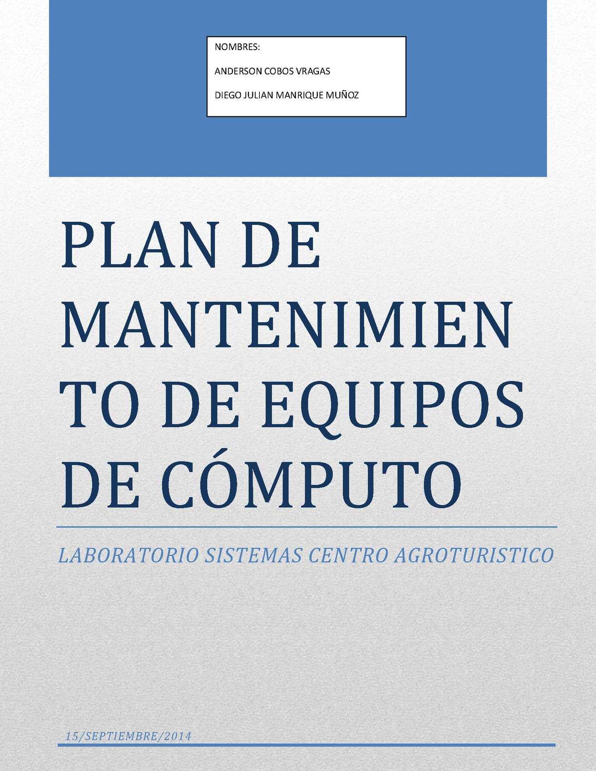 Mantenimiento de equipos de computo (plan de mantenimiento)